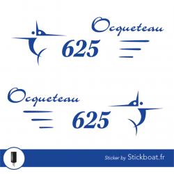 Stickers Ocqueteau 625 (kit) pour bateau