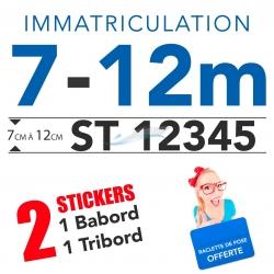 Immatriculation bateau sticker  7 et 12 mètres