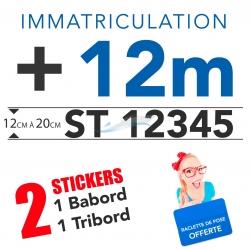 Stickers Immatriculation adhésif bateau + de 12 mètres pour bateau
