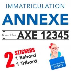 Stickers Immatriculation de l'annexe pour bateau