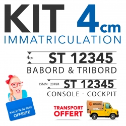 Immatriculation bateau sticker  4 cm + console + raclette
