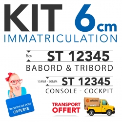 Immatriculation bateau sticker  6 cm + console + raclette
